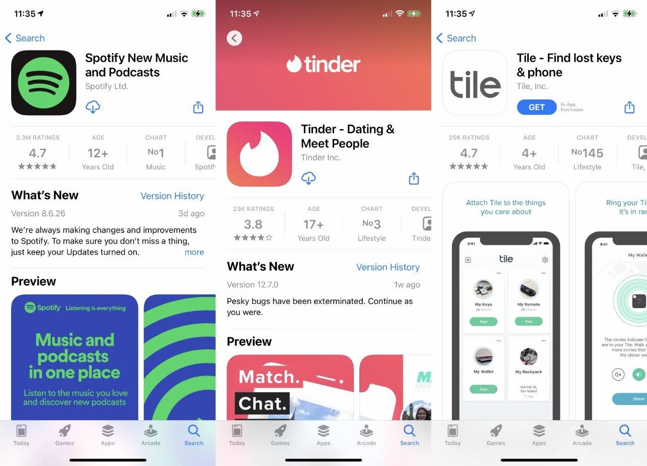اپل می گوید Spotify ، Tinder و Tile صدها میلیون بار با هم از App Store بارگیری شده اند