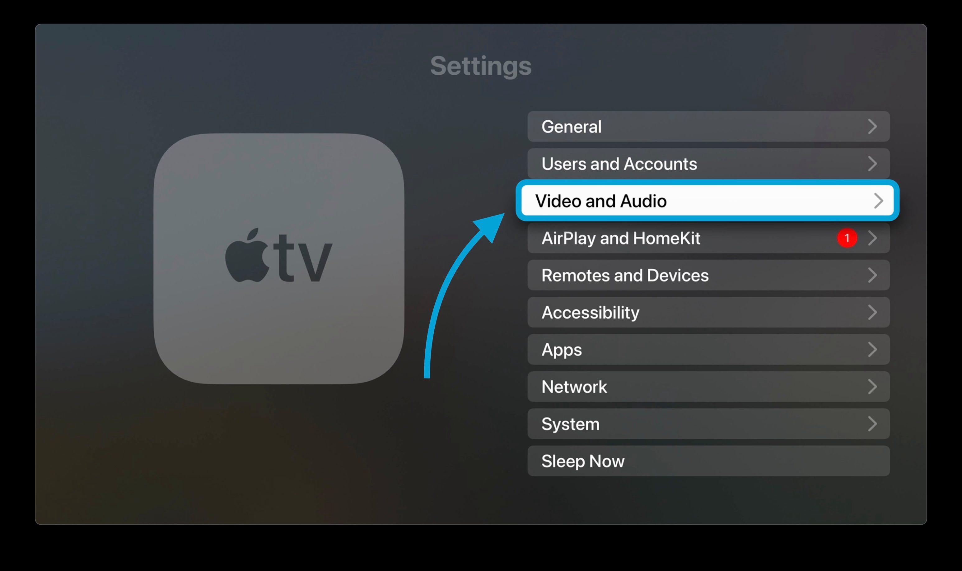 نحوه تنظیم HomePod به عنوان تنظیمات پیش فرض بلندگو در Apple TV 1 - در تنظیمات گزینه Video و Audio را انتخاب کنید