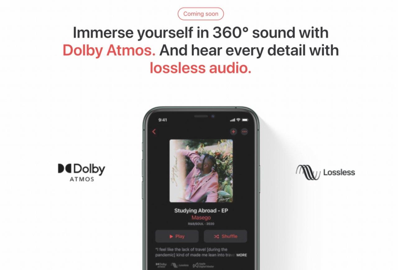 در دستگاه های سازگار ، Apple Music در صورت وجود به طور خودکار به نسخه های آهنگ های Dolby Atmos تغییر حالت می دهد