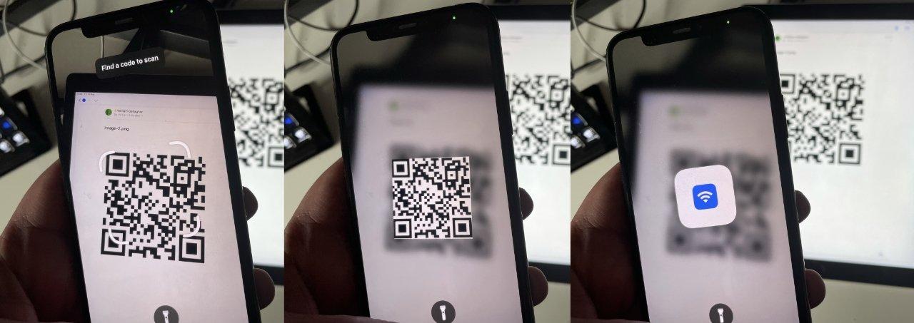 LR میهمان شما یک کد QR را جستجو می کند ، iPhone آن را ثبت می کند و او قفل شبکه را باز می کند