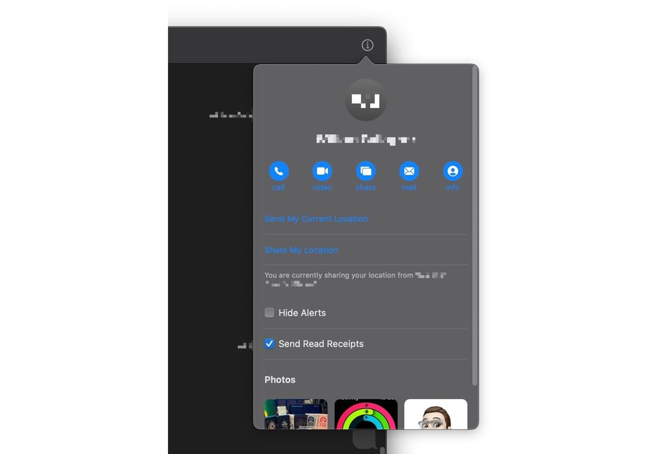 گزینه های اشتراک گذاری در جزئیات مخاطب در Messages موجود است