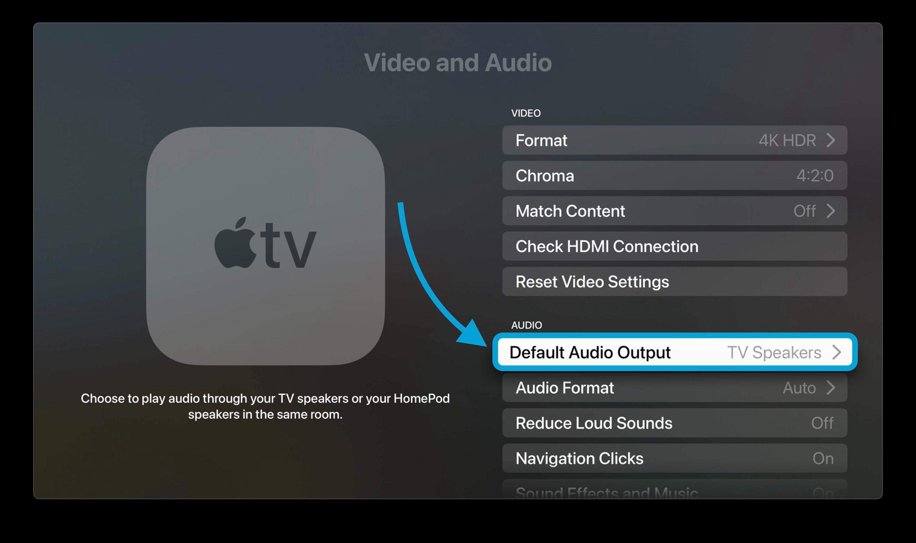 نحوه تنظیم HomePod به عنوان پیش فرض پیاده روی برای بلندگوهای Apple TV 2 - گزینه Default Audio Out را انتخاب کنید