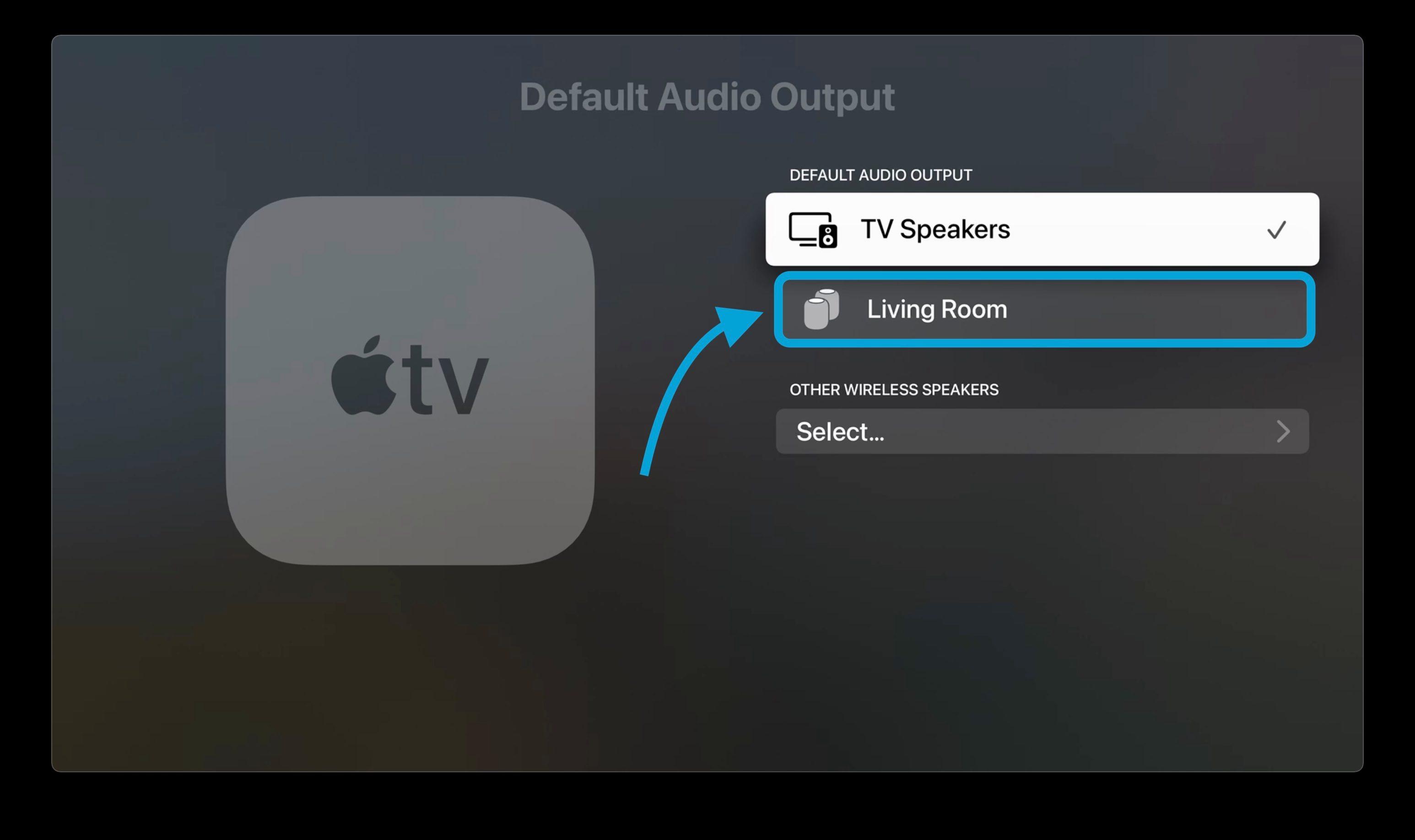 "HomePod (های) زیر را انتخاب کنید ""بلندگوهای تلویزیون"""