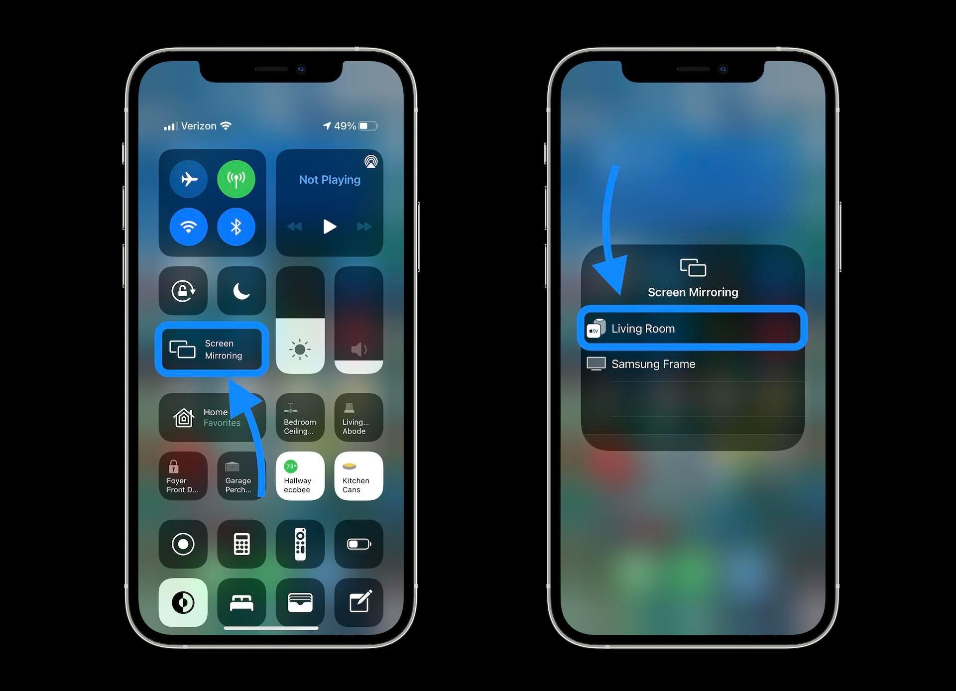 نحوه تماشای فیلم با Dolby Vision برای Apple TV در iPhone - مرکز کنترل را باز کرده و صفحه Mirror را انتخاب کنید