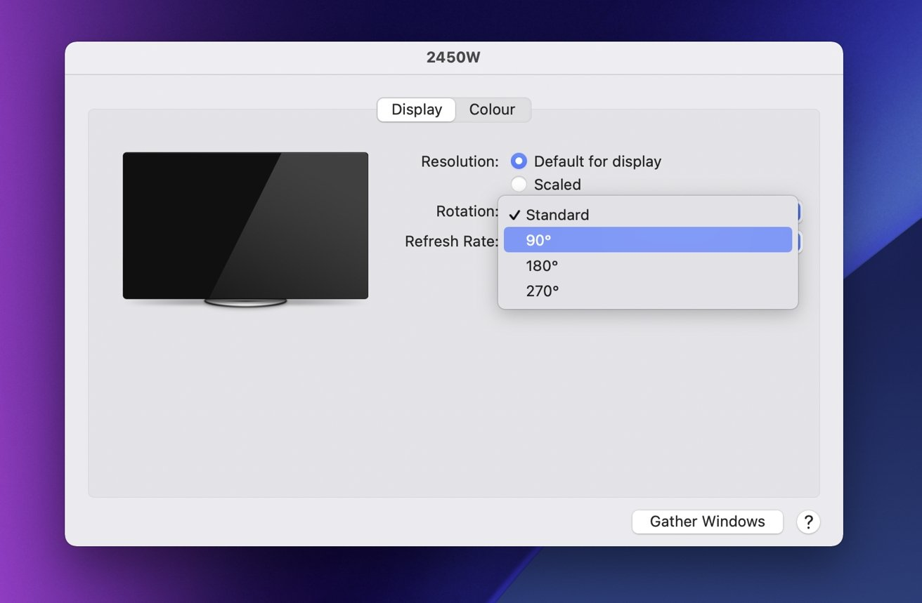 گزینه چرخش مانیتور در macOS.
