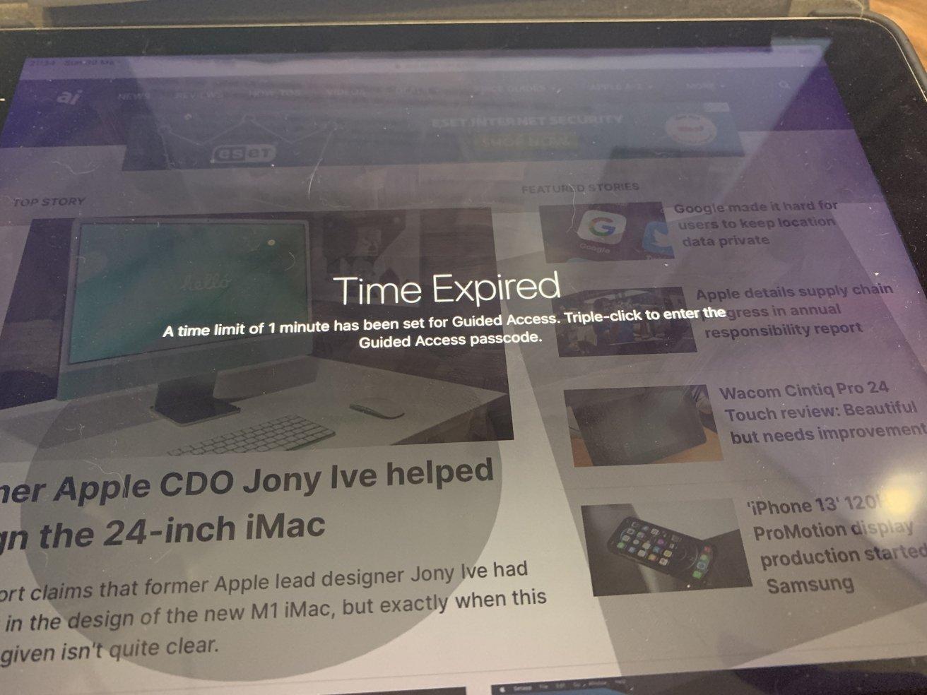 با اتمام زمان ، تا زمانی که قفل قفل باز نشود یا کد وارد نشود ، نمی توانید از iPhone یا iPad استفاده کنید.